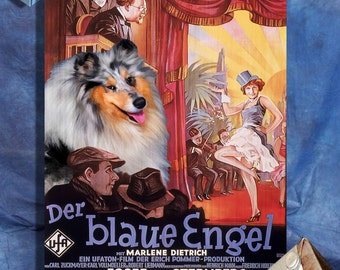 Rough Collie Vintage Movie Style Poster Canvas Print  - The Blue Angel Movie Poster Perfect DOG LOVER GIFT Gift for Her Gift for Him