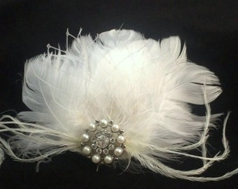 Feather Head Piece, Bridal Fascinator, Wedding Accessories, Bridal Headband, Bridal Hair Piece, Wedding Headpiece, Wedding Jewelry