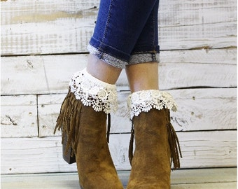 Lace crochet ankle socks for booties, short, lacy, wedding, romantic, Victorian, cuffs, vintage, cuffs, leg warmers,hosiery, fashion |  CS6