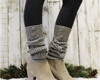 Leg Warmers,  Silver grey | Leg warmers pointelle knit | romantic boho boot fashion | lace cuff socks | lacy women sock  LW28