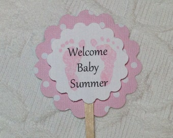Set of 12 Personalized Cupcake Picks - Baby Shower