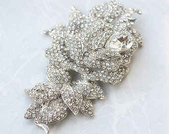 SALE Crystal wedding bridal brooch , head piece