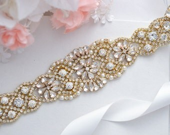 SALE GOLD Wedding Belt, Bridal Belt, Sash Belt, Crystal Rhinestone Sash , crystal & pearl