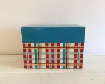Retro Vintage Recipe Box - Cottage Decor - Yellow Red Blue Plaid - Farmhouse - Metal Ohio Art - Kitchen Decor - Wedding - Beach Cottage
