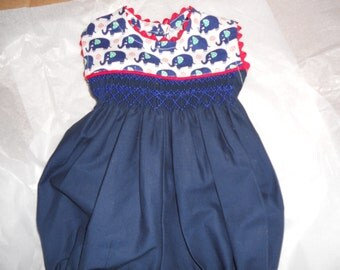 Size 6 Months, Handsmocked Baby Girl Bubble, Navy Blue and Red