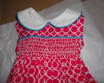 Size 12 Months, Smocked Baby Girl Bubble, Hot Pink and White Cotton Print
