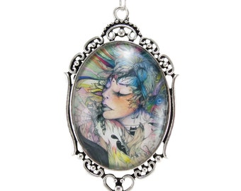 Cameo Necklace With Original Art Print, Romantic Gift For Her (OOAK-00009)