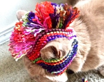 Mohawk Cat Hat - Multicolored / Painted Hand Knit Cat Costume (READY TO SHIP)