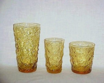 12 Amber Tumblers, Anchor Hocking Lido Milano, Textured Glasses, Mid Century, 1960's Glassware