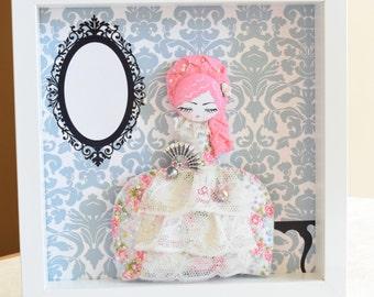 Marie Antoniette picture box frame. 25 x 25cm
