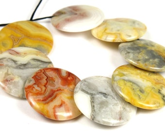 Mexican Crazy Lace Agate Overlapped Disc Round Bead - 20mm x 3.5mm - 8 beads - B4851