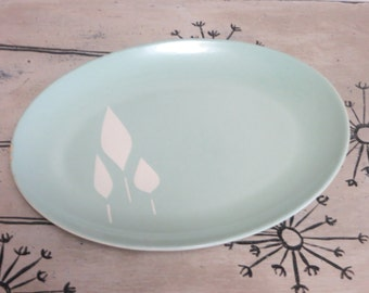 Stunning Franciscan Earthenware Serving Platter Cypress Pattern Turquoise and White Mid Century Pottery Plate Serving Tray