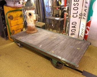 Large Antique Wood Factory Loading Dock Cart Green Cast Iron Wheels Fairbanks Alaksa DIY industrial coffee table Railroad Cart Mens Gift