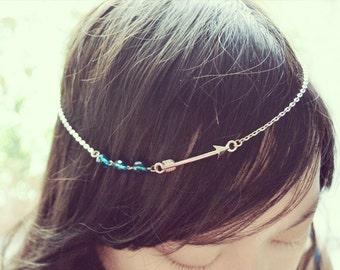 Cerulean Blue Beads Arrow Boho Head Chain