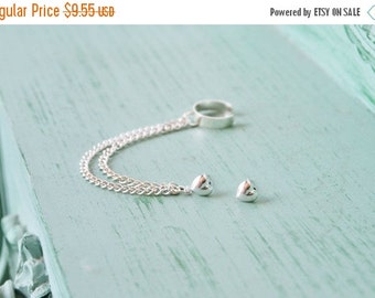 VALENTINES DAY SALE Silver Heart Double Chain Ear Cuff (Pair)