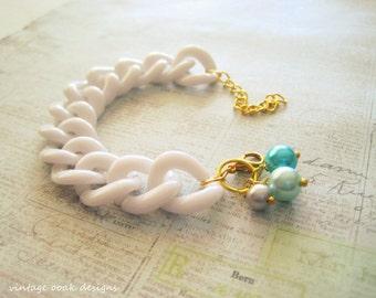 Chunky Chain Bracelet,Chain Bracelet,Summer Jewelry,Chunky Jewelry,Link Bracelet,Bridesmaid Gift,White Bracelet, White Jewelry,Summer Trends