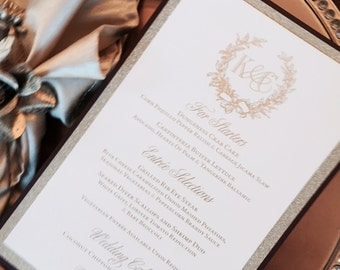 Gold Foil Letterpress Wedding Menu Cards with Wreath Motif, Custom Monogram Available