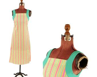 Vintage 1970's Bright Mod Candy Stripe Pink + Yellow Pin Stripe Baby Doll Shift Dress M
