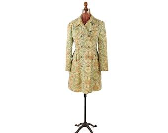 Vintage 1960's Soft Green Southwest Tapestry Mod Abstract Print Op Art Blanket Jacket Mod Coat M