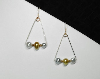 Tahitian Black, Gold, and White South Sea Pearl Earrings in Gold, Choice of 2