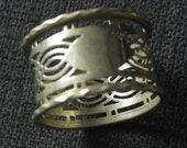 RESERVED antique silver plate fret work napkin ring