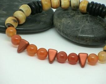Bracelet avec bois exotique et agates oranges, homme unisexe/ men wood bracelet