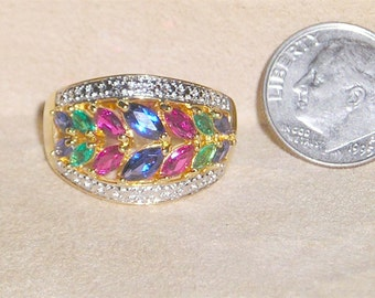 Vintage Sterling Silver Ring With Lovely Marquise Cut Man Made Emeralds Rubies And Sapphires 1980's Size 9 Signed Jewelry 7057