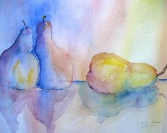 Original Art Watercolor Painting  Three Pears   CarlottasArt