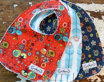 SALE  Baby Bibs for Girl - Set of 3 - le Petite plume - Coral peacocks, Aqua feather & Navy Floral