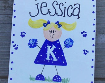 CHEERLEADER personalized child room decor wall hanger name cheer TEAM