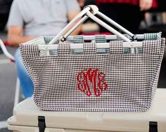 Personalized Houndstooth Market Tote ~ Monogrammed Houndstooth Market Tote ~ Embroidery Included