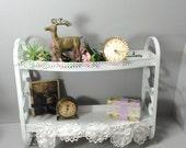 Metal Bathroom Shelf with Towel Bar and Scroll Sides, White,  2 Shelf Towel Rack, Nursery Shelf,  Cottage Chic, Shabby Chic,