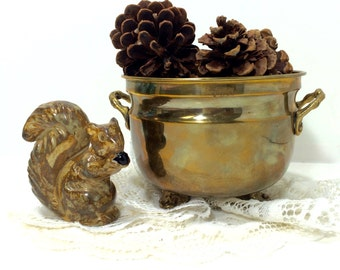 Brass Bowl, Planter Pot, Solid Brass Planter - Footed Bowl Planter with Handles Hosley International Handcrafted in India