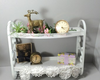 Metal Bathroom Shelf with Towel Bar and Scroll Sides, White,  2 Shelf Towel Rack, Nursery Shelf,  Cottage Chic, Shabby Chic,