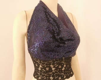 Purple Sequin's Cowl Neck Halter Tango Top   available   US 0 - 8   Dancewear Evening Top