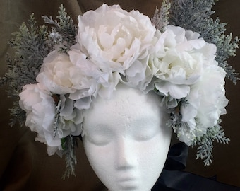 Headdress floral crown/The Ice Fae winter Faerie