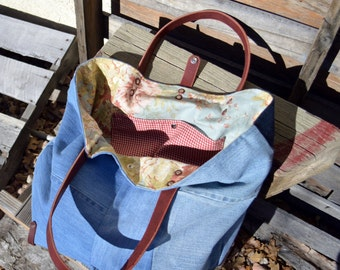 Eco-friendly Recycled Denim and Leather Tote- Recycled Denim Bag- Repurposed Denim Bag - Ready to Ship