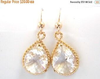 SALE Glass Earrings, Clear Earrings, Gold Earrings, Wedding Jewelry, Bride Earrings, Bridesmaid Earrings, Bridal Earrings, Bridesmaid Gifts