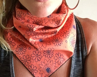 Bandana // Orange and Navy Floral // Handkerchief // Summer // Music Festival // Dust Mask