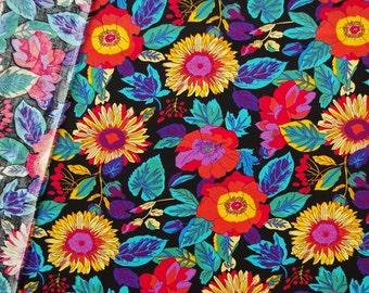 C2042 - 145cmx100cm Cotton Fabric - Flower and leaf on black
