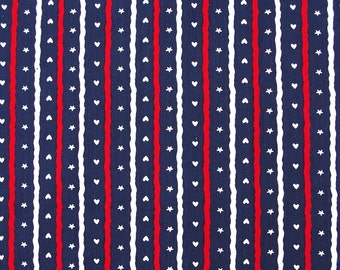 C2055B - 140cmx100cm Cotton Fabric - Stripe,heart and star deep blue