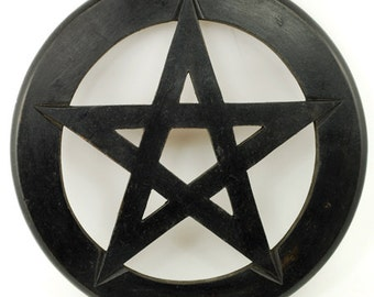 Solid Carved Wooden Altar Pentagram