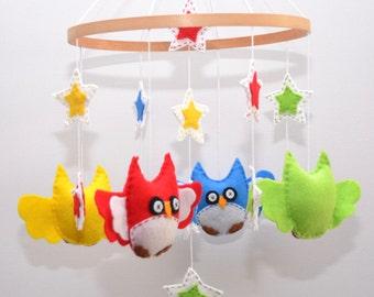 Owl and Stars mobile ~ Stars - ready made - owl - baby shower - nursery decor - mobile - crib mobile
