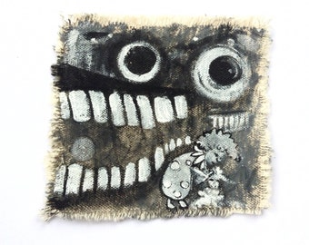 Black and white clown and lamb original art patch painting