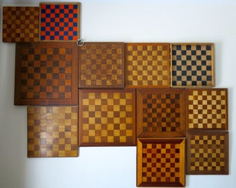 Collection of 12 unique vintage, handmade Chessboards