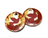 Unusual Ceramic Dove Bird Earring Charms Pair Rustic Stoneware Pottery Wildlife