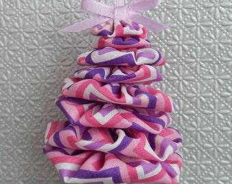 Pink, Purple and White Chevron Yo Yo Ornament