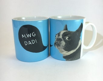 Mwg Dad Welsh Text Fathers Day French Bulldog Ceramic Mug 11oz