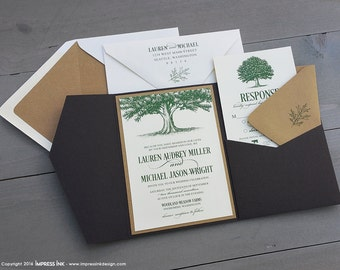 Oak Tree Wedding Invitation Sample | Flat or Pocket Fold Style