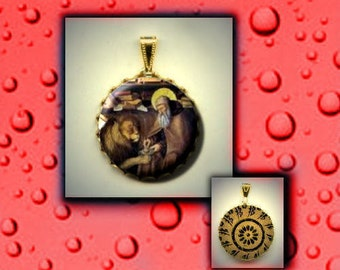 St. Jerome Patron Saint of Librarians Researchers Writers and against Anger hand pressed flat metal button CABOCHON in Brass Charm / Pendant
